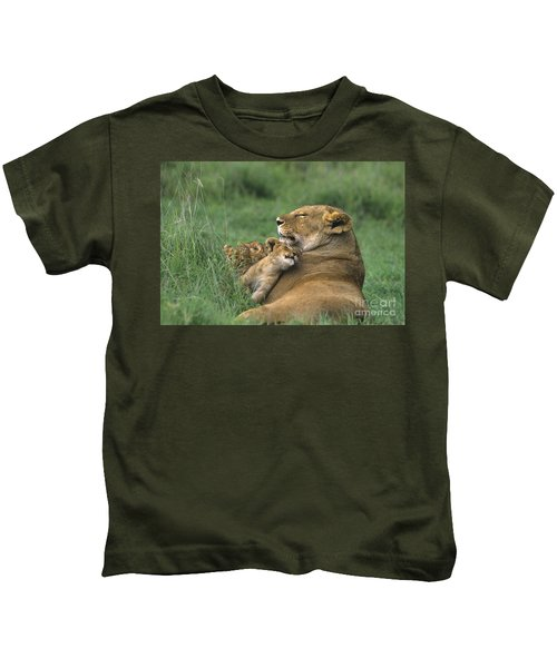 African Lions Mother And Cubs Tanzania Kids T-Shirt