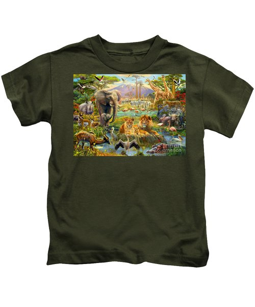 African Watering Hole Kids T-Shirt
