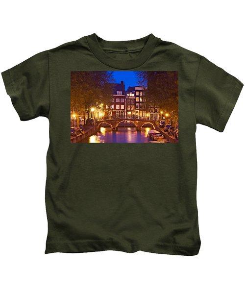 Amsterdam Bridge At Night Kids T-Shirt