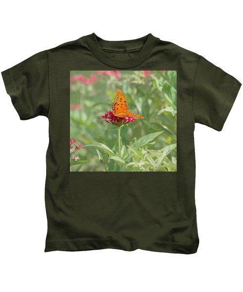 At Rest - Gulf Fritillary Butterfly Kids T-Shirt