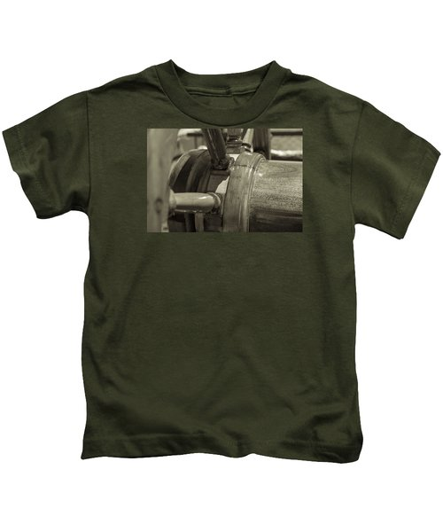 At The Helm Black And White Sepia Kids T-Shirt
