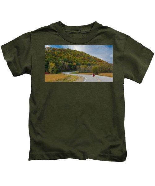 Autumn Motorcycle Rider / Orange Kids T-Shirt