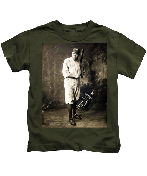 Babe Ruth 1920 Kids T-Shirt by Mountain Dreams