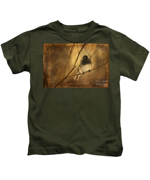 Backlit Birdie Being Buffeted  Kids T-Shirt