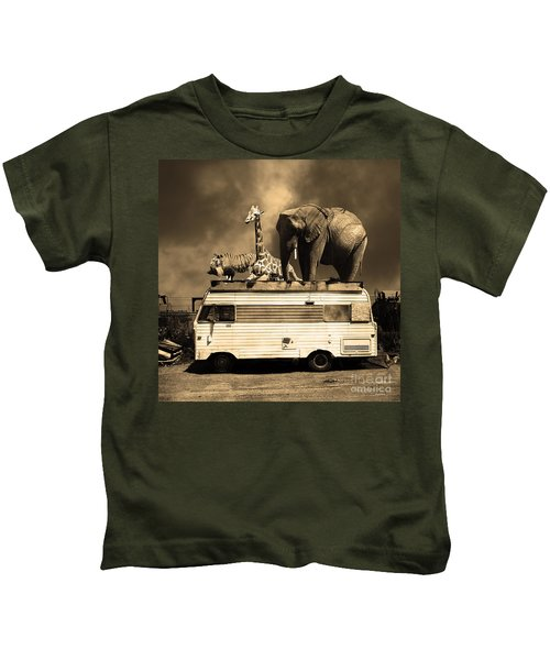 Barnum And Bailey Goes On A Road Trip 5d22705 Square Sepia Kids T-Shirt