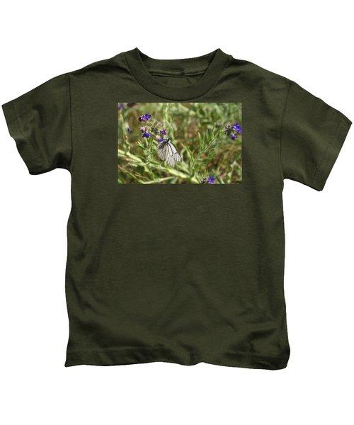 Beautiful Butterfly In Vegetation Kids T-Shirt