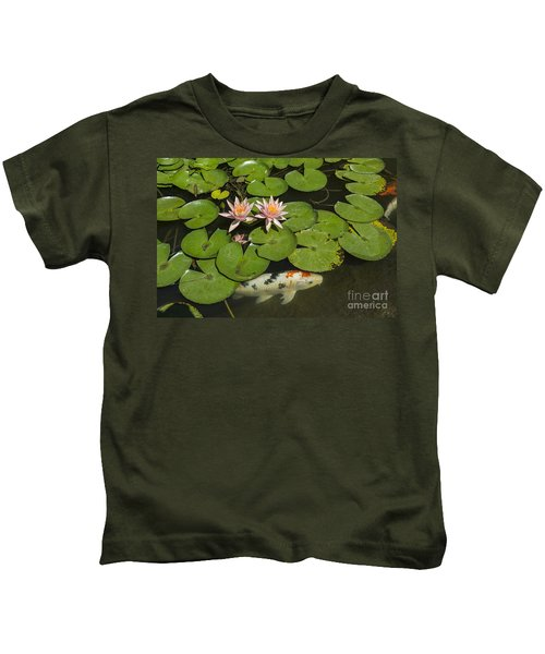 Beautiful Lily Pond With Pink Water Lilies In Bloom With Koi Fis Kids T-Shirt