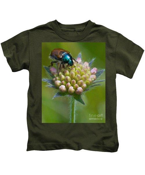 Beetle Sitting On Flower Kids T-Shirt