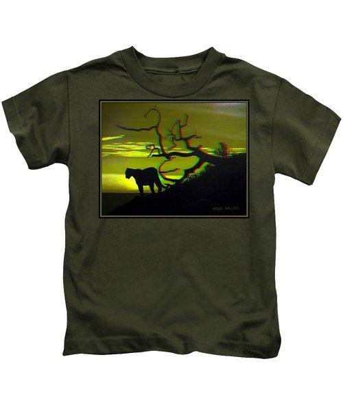 Big Cat Silhouette -  Use Red-cyan 3d Glasses Kids T-Shirt