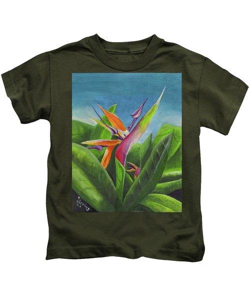 Hawaiian Bird Of Paradise Kids T-Shirt