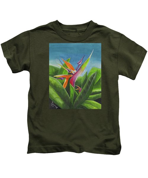 Hawaiian Bird Of Paradise Kids T-Shirt