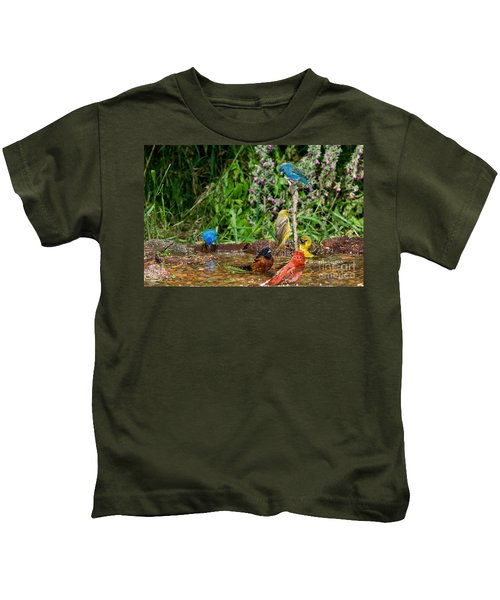 Birds Bathing Kids T-Shirt by Anthony Mercieca