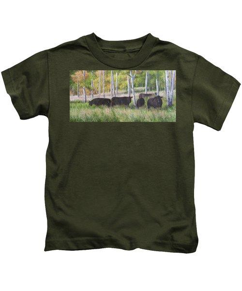 Black Angus Grazing Kids T-Shirt