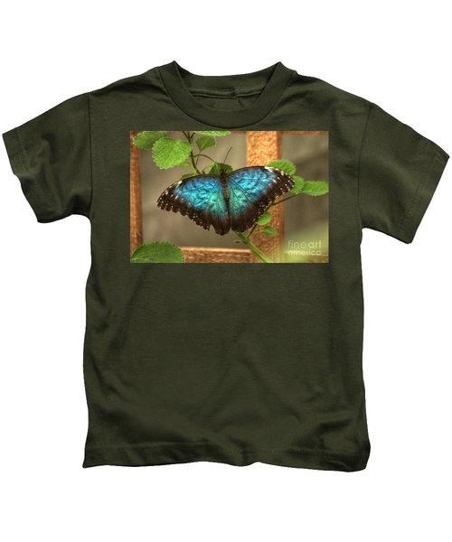 Blue And Black Butterfly Kids T-Shirt