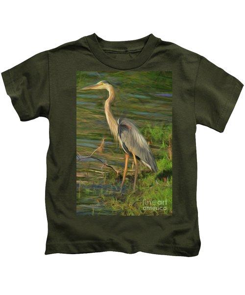 Blue Heron On The Bank Kids T-Shirt
