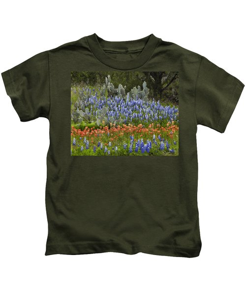 Bluebonnets Paintbrush And Prickly Pear Kids T-Shirt