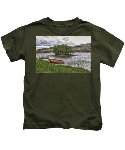 Boat On Lake Bank 1929 Kids T-Shirt