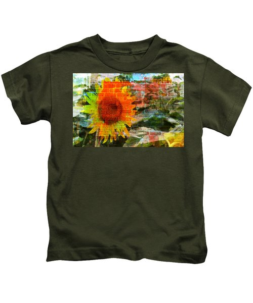 Bricks And Sunflowers Kids T-Shirt
