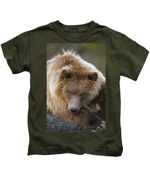Brown Bear Laying Down At Alaska Kids T-Shirt