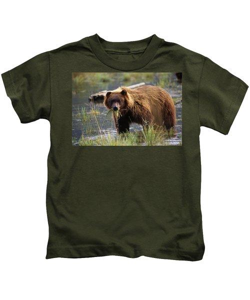 Brown Bear Wmouth Full Of Grass Kids T-Shirt