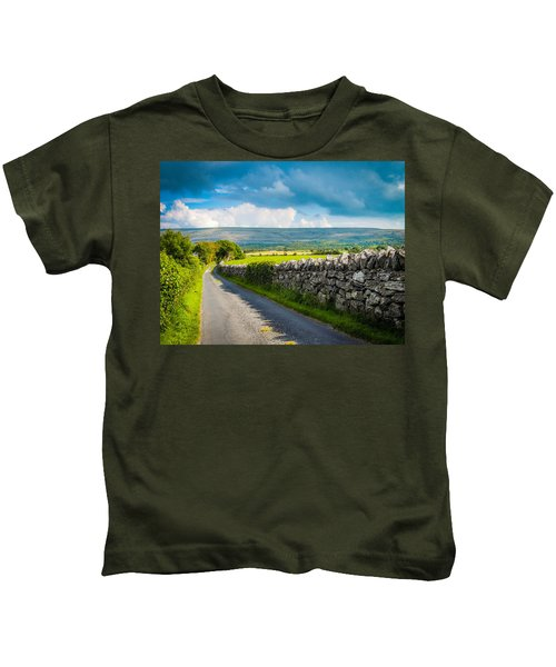 Kids T-Shirt featuring the photograph Burren Country Road In Ireland's County Clare by James Truett
