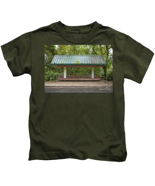 Bus Stop Bench In The Rainforest  Kids T-Shirt