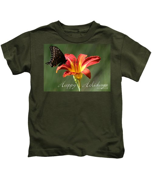 Butterfly And Lily Holiday Card Kids T-Shirt