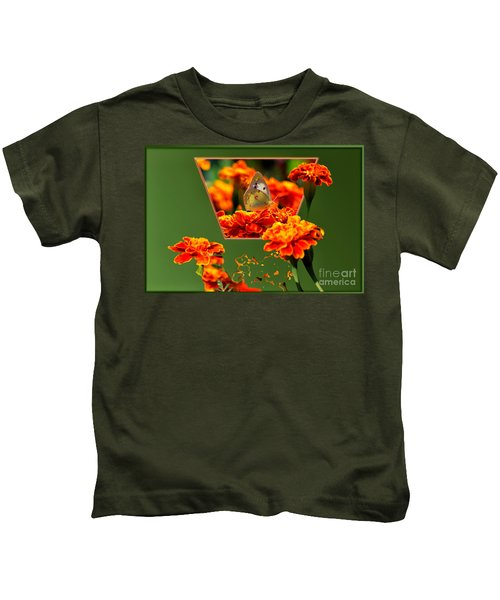 Butterfly In A Sea Of Orange Floral 02 Kids T-Shirt