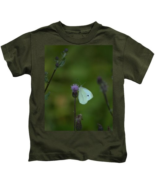 Butterfly In White 2 Kids T-Shirt