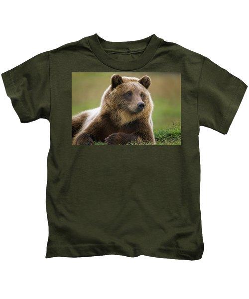 Captive Brown Bear Laying Kids T-Shirt
