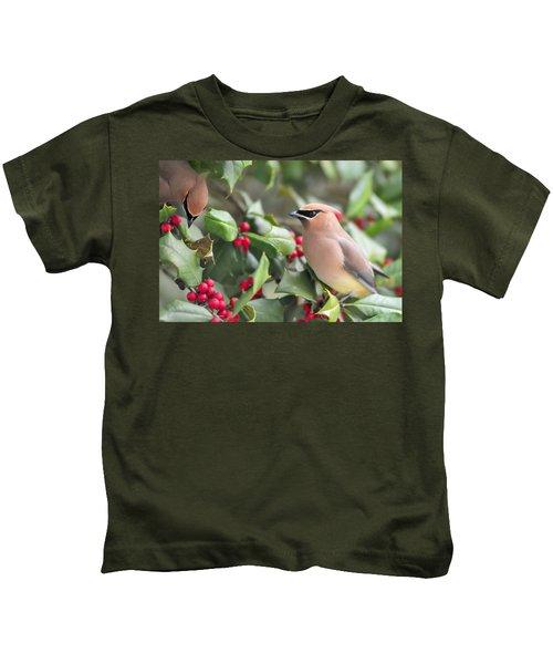 Cedar Waxwing In Holly Tree Kids T-Shirt