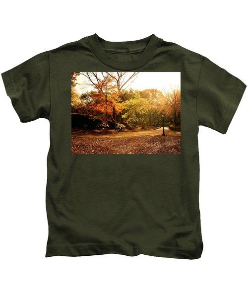 Central Park Autumn Trees In Sunlight Kids T-Shirt