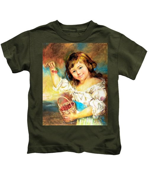 Cherry Basket Girl Kids T-Shirt