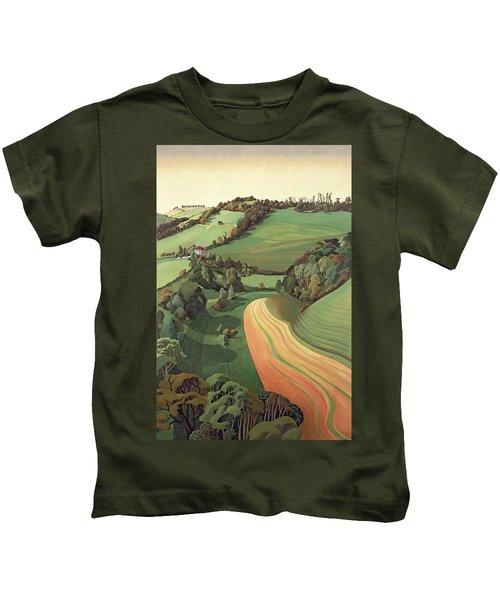 Chilcombe Bottom, Bath Oil On Canvas Kids T-Shirt