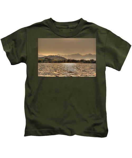 China Lake Sunset Kids T-Shirt