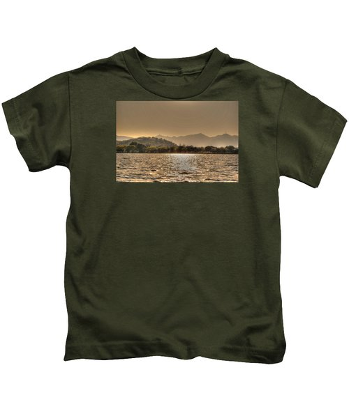 China Lake Sunset Kids T-Shirt