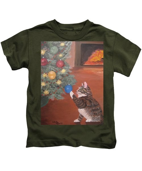 Christmas Kitty Cat Kids T-Shirt