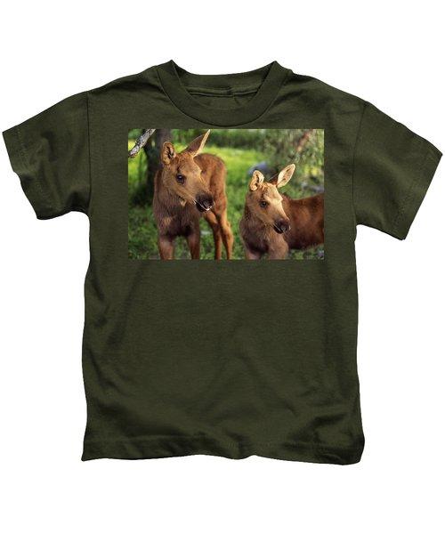 Close Up Of Two Captive Moose Calves Kids T-Shirt