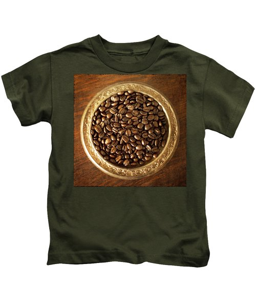 Coffee Beans On Antique Silver Platter Kids T-Shirt