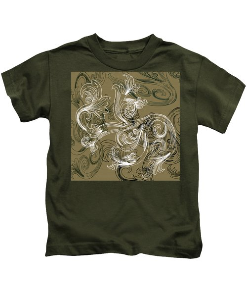 Coffee Flowers 2 Olive Kids T-Shirt