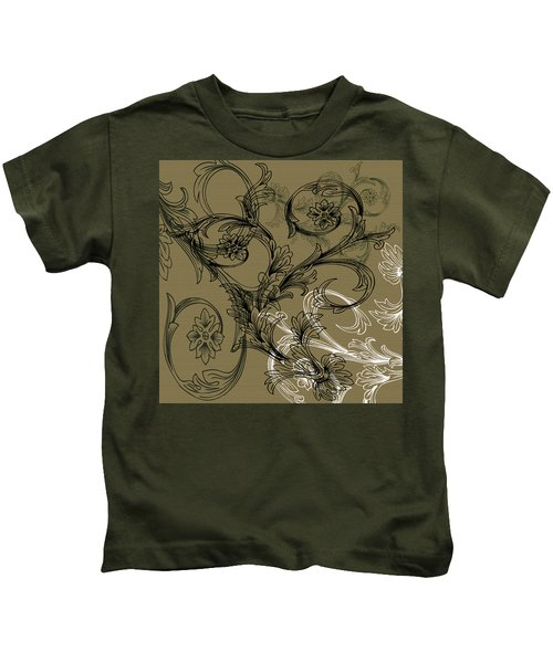 Coffee Flowers 3 Olive Kids T-Shirt