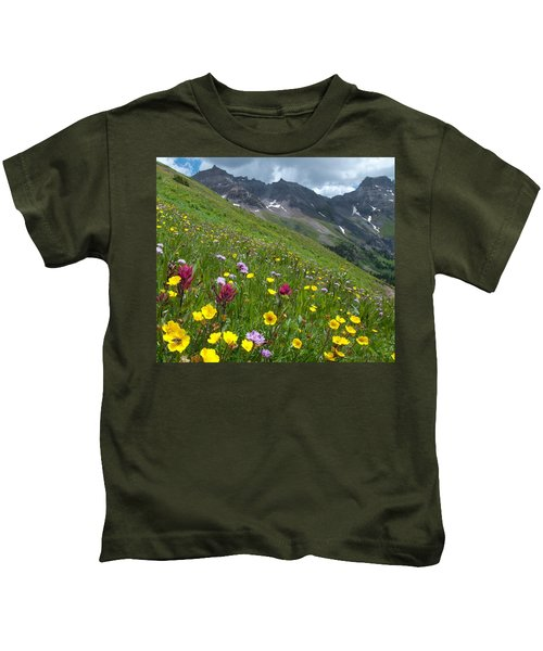 Colorado Wildflowers And Mountains Kids T-Shirt