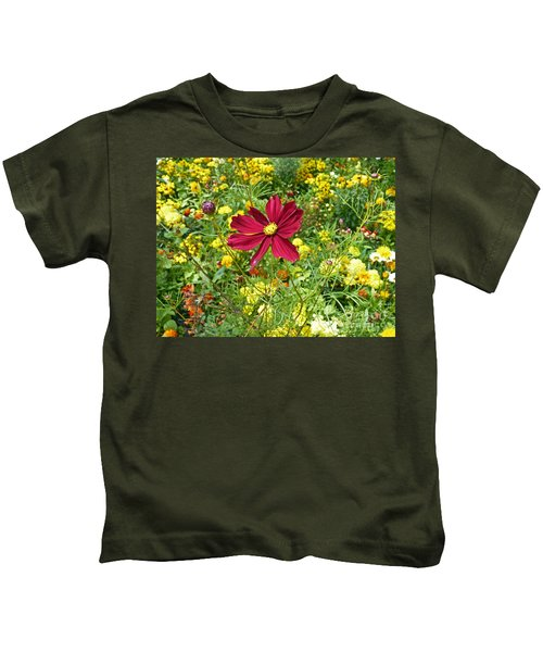 Colorful Flower Meadow With Great Red Blossom Kids T-Shirt