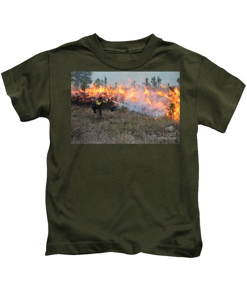 Cooling Down The Norbeck Prescribed Fire. Kids T-Shirt
