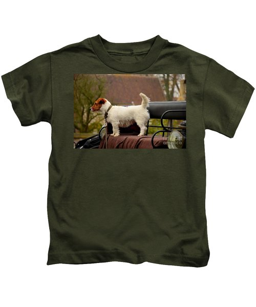 Cute Dog On Carriage Seat Bruges Belgium Kids T-Shirt