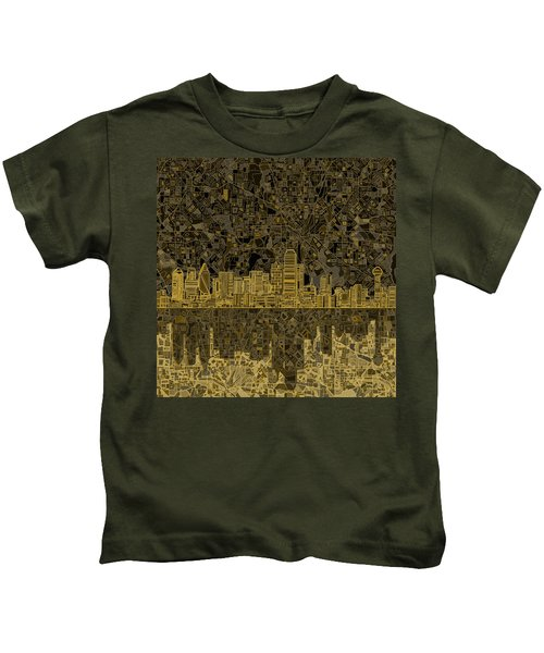 Dallas Skyline Abstract 3 Kids T-Shirt