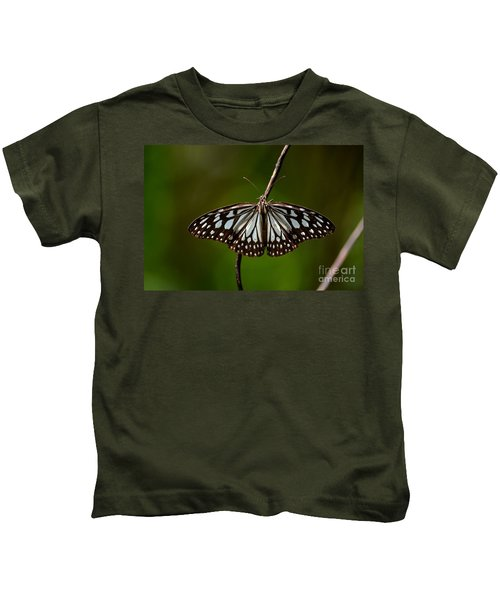 Dark Glassy Tiger Butterfly On Branch Kids T-Shirt