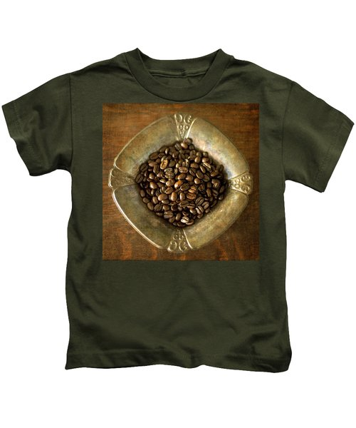 Dark Roast Coffee Beans And Antique Silver Kids T-Shirt