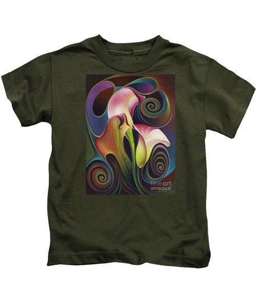 Dynamic Floral 4 Cala Lillies Kids T-Shirt
