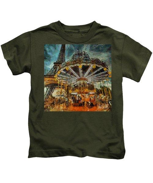 Eiffel Tower Carousel Kids T-Shirt